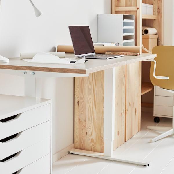 SKARSTA مكتب متغيّر الارتفاع, بيج/أبيض, 120x70 سم