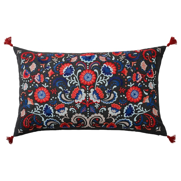 SKOGSKORN Cushion, dark grey/multicolour, 40x65 cm