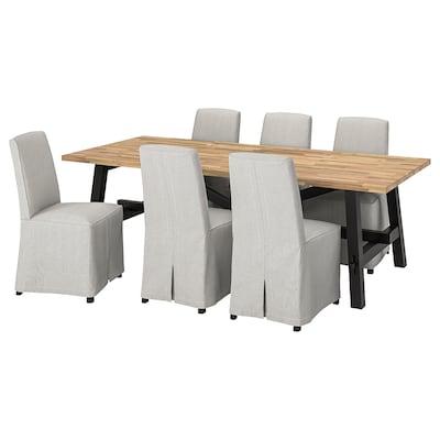 SKOGSTA / BERGMUND Table and 6 chairs, acacia/Kolboda beige/dark grey, 235x100 cm