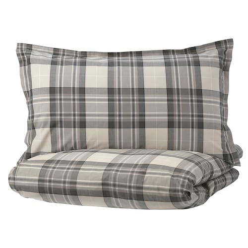 SMALRUTA quilt cover and 2 pillowcases grey/check 152 /inch² 2 pack 220 cm 240 cm 50 cm 80 cm