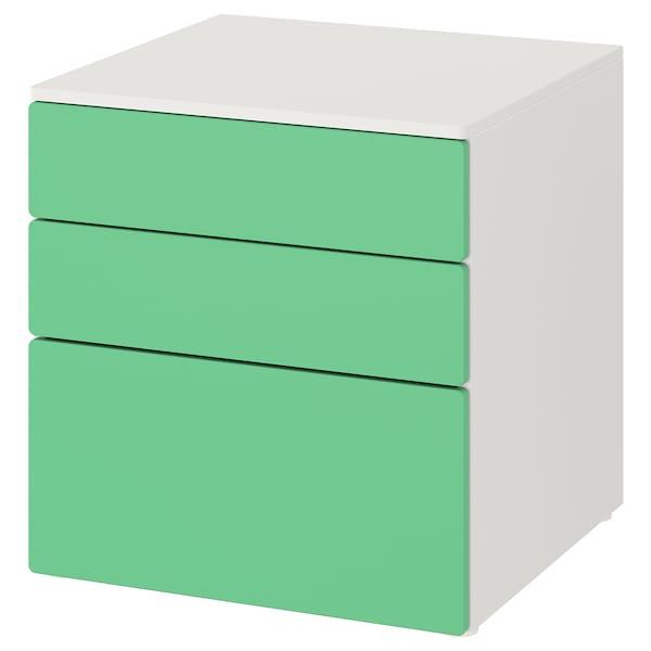 SMÅSTAD / PLATSA خزانة بـ 3 أدراج, أبيض/أخضر, 60x57x63 سم