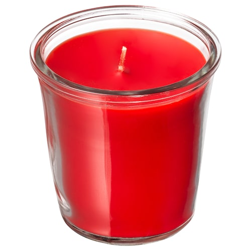 SMÅTREVLIG scented candle in glass Berry mix/red 7 cm 20 hr