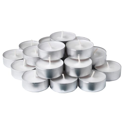 SMÅTREVLIG scented tealight Vanilla and sea salt/natural 38 mm 3.5 hr 24 pack