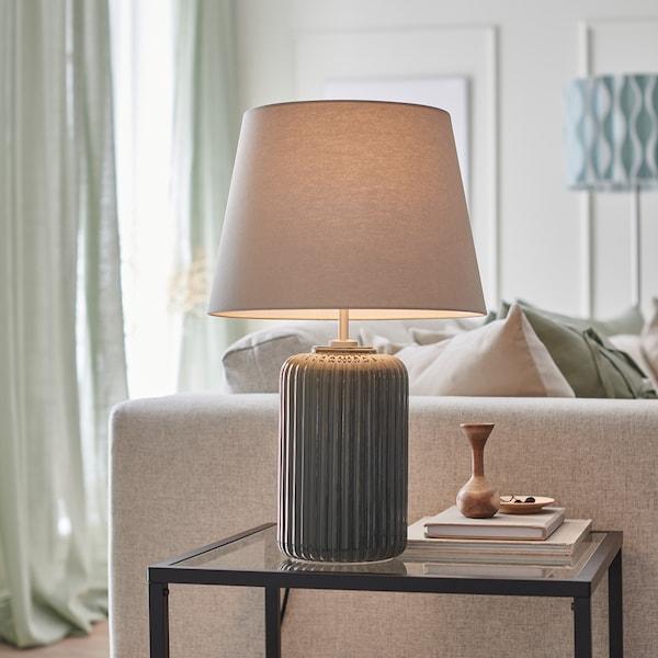 SNÖBYAR مصباح طاولة, رمادي- تركواز فخّار/رمادي, 52 سم
