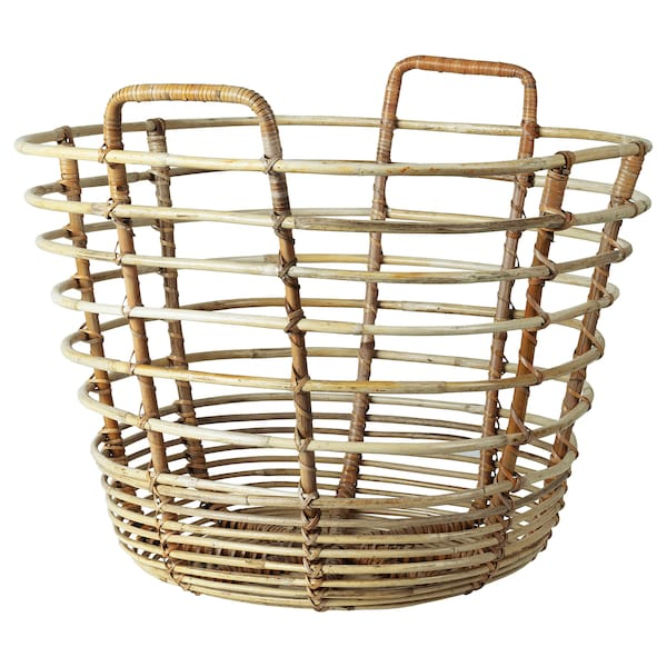 SOLBLEKT Basket with handles, rattan