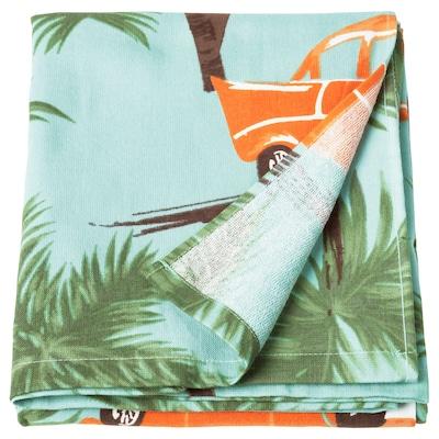 SOLBLEKT Beach towel, palm/car pattern blue, 100x180 cm