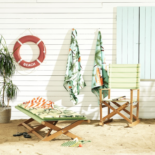 SOLBLEKT Beach towel with bag, palm/car pattern blue, 100x180 cm