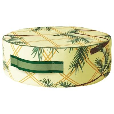 SOLBLEKT Pouffe, palm pattern yellow, 55 cm