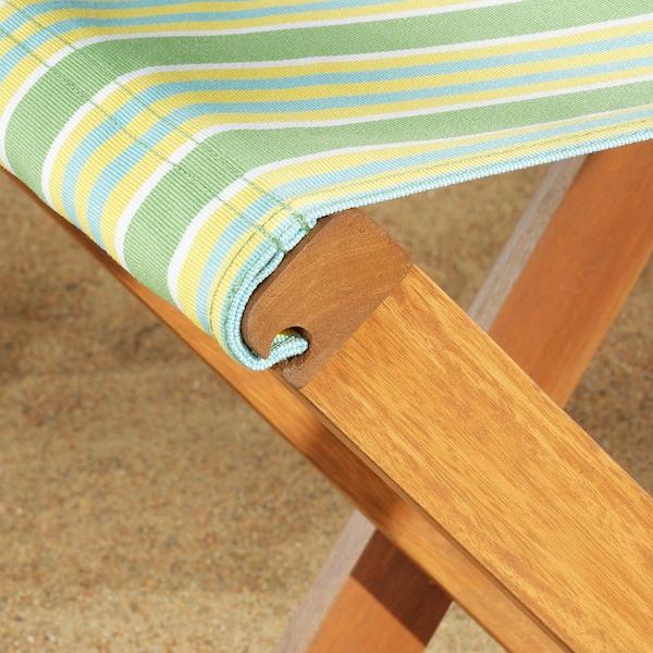 SOLBLEKT Stool, foldable eucalyptus/striped green