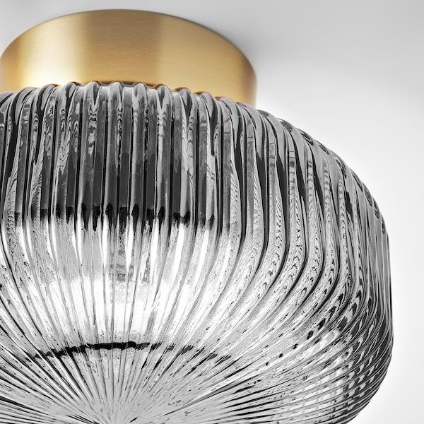 SOLKLINT Ceiling lamp, brass/grey clear glass, 27 cm