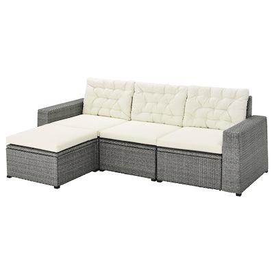 SOLLERÖN 3-seat modular sofa, outdoor, with footstool dark grey/Kuddarna beige