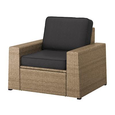 SOLLERÖN Armchair, outdoor, brown/Järpön/Duvholmen anthracite
