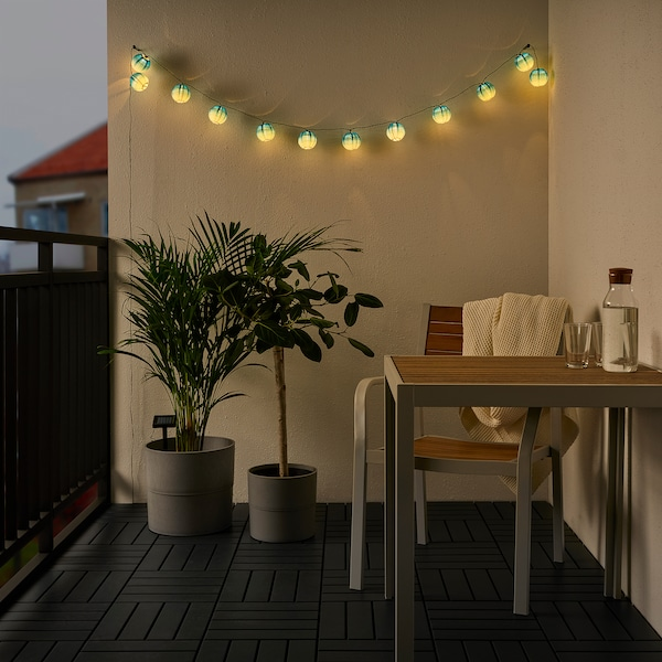 SOLVINDEN LED lighting chain with 12 bulbs, outdoor globe/blue toned