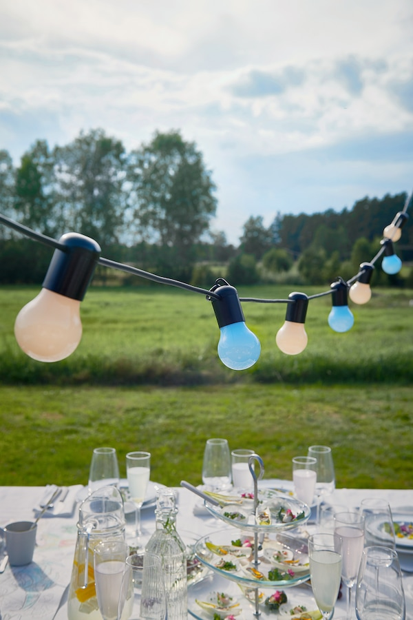 SOLVINDEN LED lighting chain with 12 bulbs, outdoor/multicolour