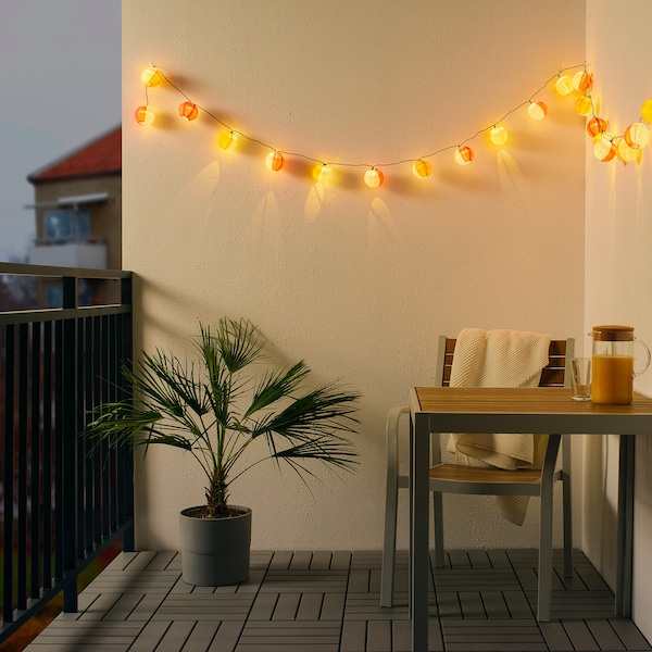 SOLVINDEN LED lighting chain with 24 lights outdoor solar-powered/globe multicolour 3.0 m 6 lm 19 cm 4.0 m 0.1 W 7.0 m