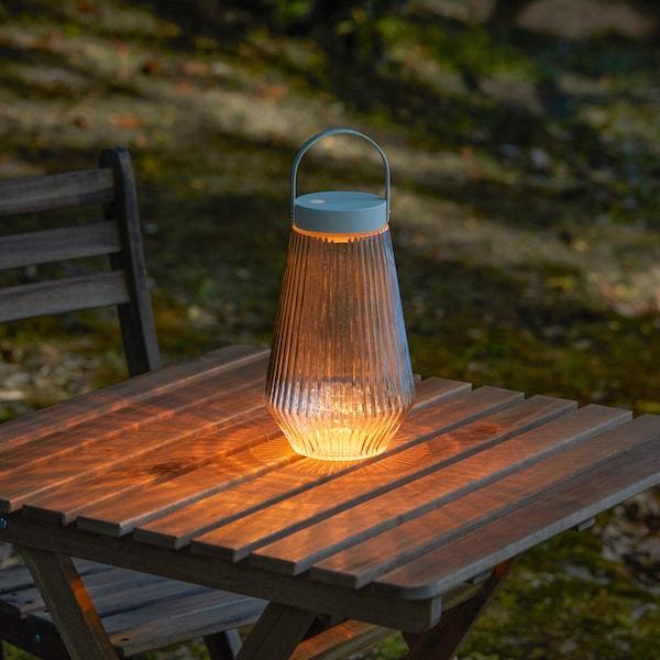SOLVINDEN إضاءة LED, خارجي/يعمل بالبطارية زجاج شفاف, 24 سم