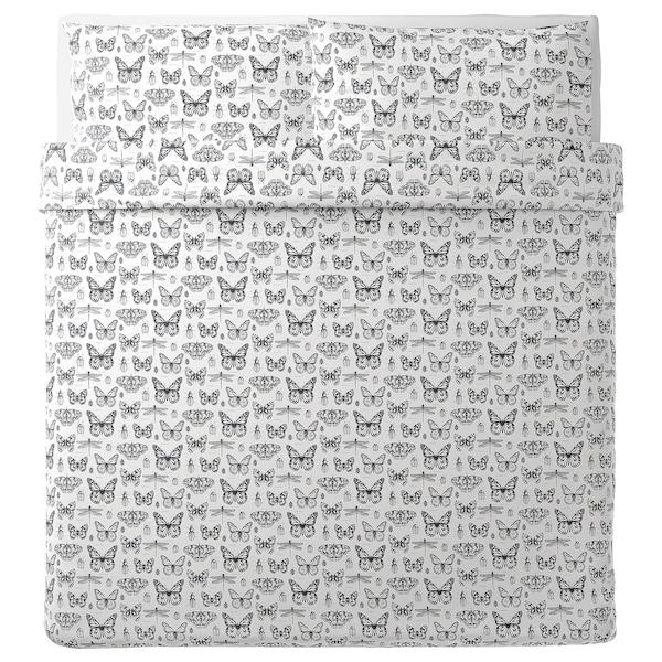 SOMMARMALVA غطاء لحاف/2كيس مخدة, أبيض/رمادي غامق, 240x220/50x80 سم