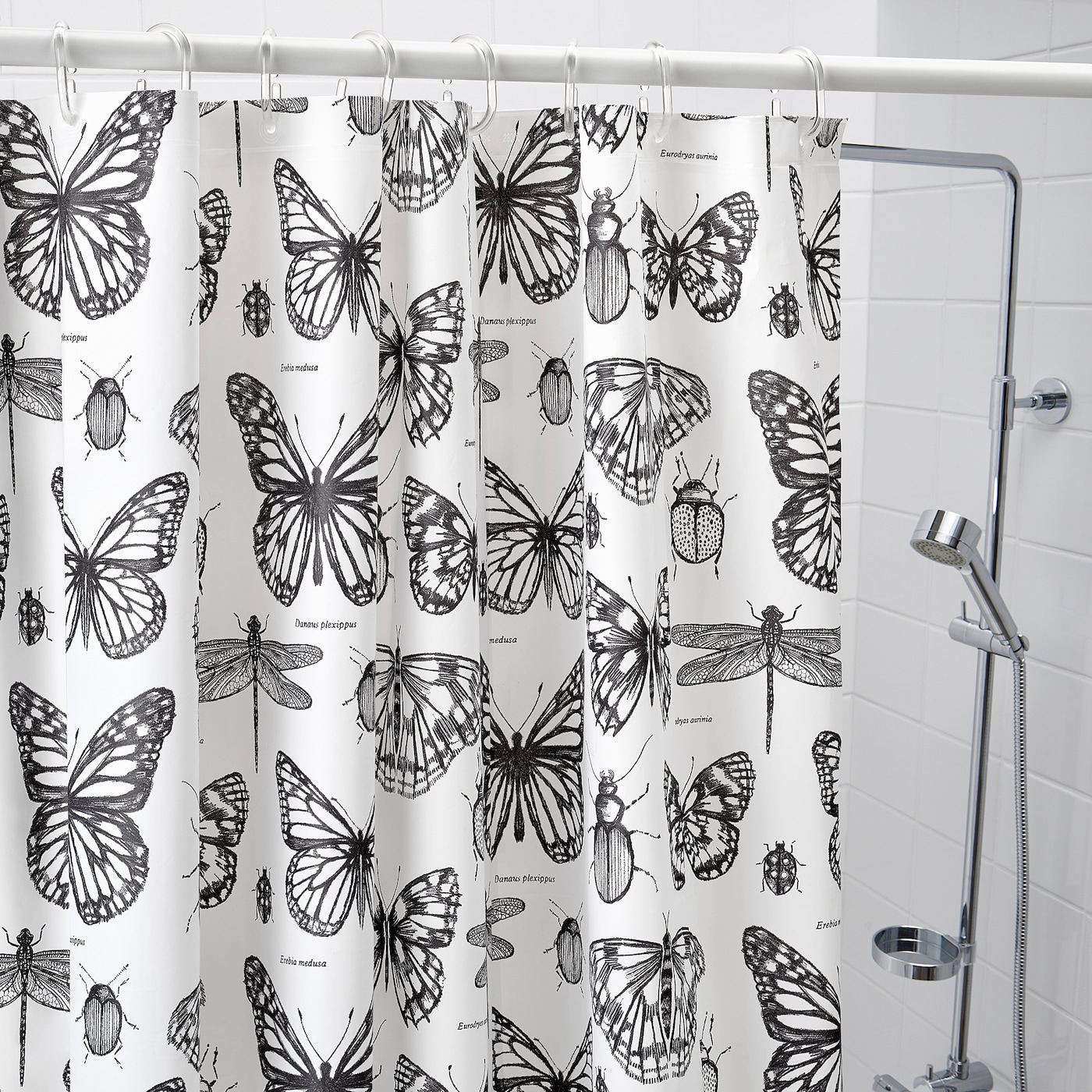 SOMMARMALVA Shower curtain - white/dark grey 3x3 cm