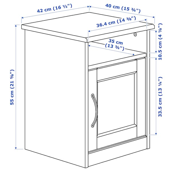SONGESAND طاولة سرير جانبية, بني, 42x40 سم