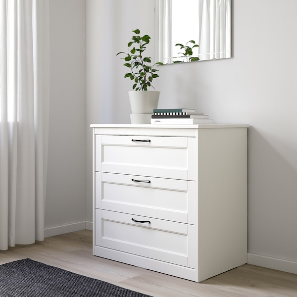 SONGESAND خزانة بـ 3 أدراج, أبيض, 82x81 سم