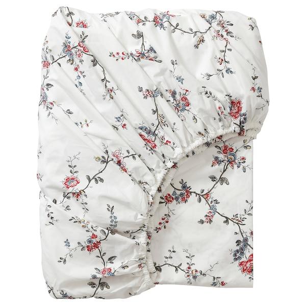 STENÖRT Fitted sheet, flower, 180x200 cm