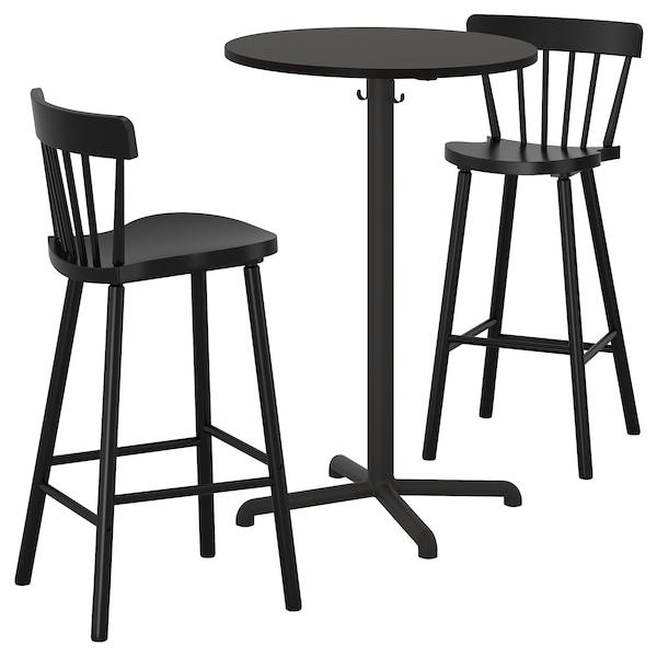 STENSELE / NORRARYD طاولة عالية و 2 مقعد عالي, فحمي فحمي/أسود