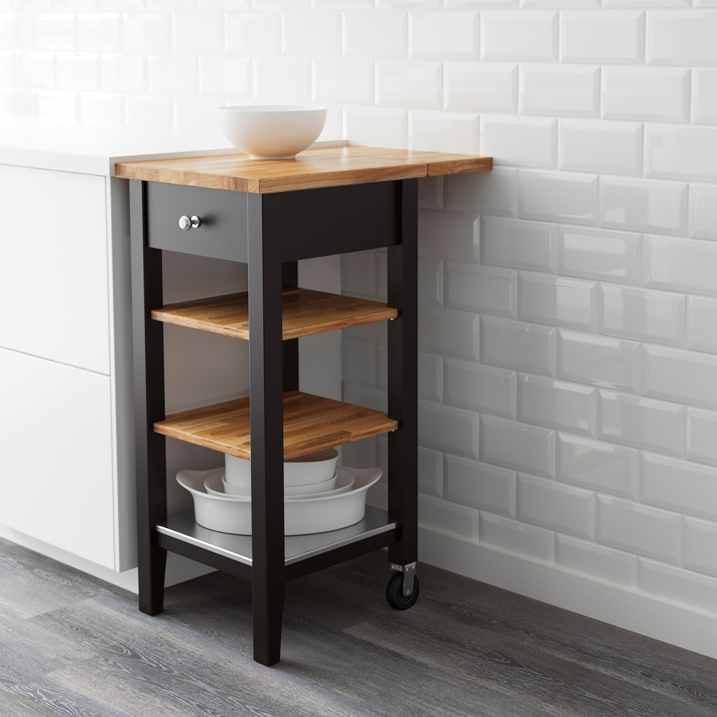 STENSTORP Kitchen trolley - black-brown/oak 8x8x8 cm