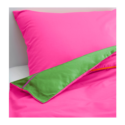 STICKAT Quilt cover and pillowcase, pink, green