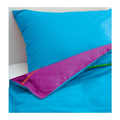 STICKAT Quilt cover and pillowcase, turquoise, lilac