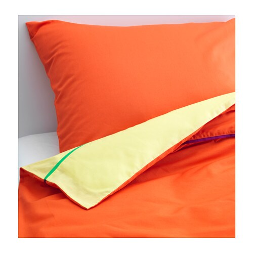 STICKAT Quilt cover and pillowcase, orange, yellow