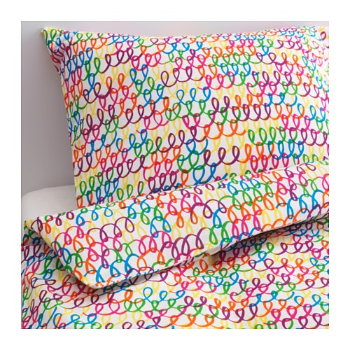 STICKAT Quilt cover and pillowcase, multicolour