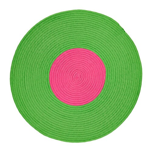 STICKAT Rug, braided, green, pink