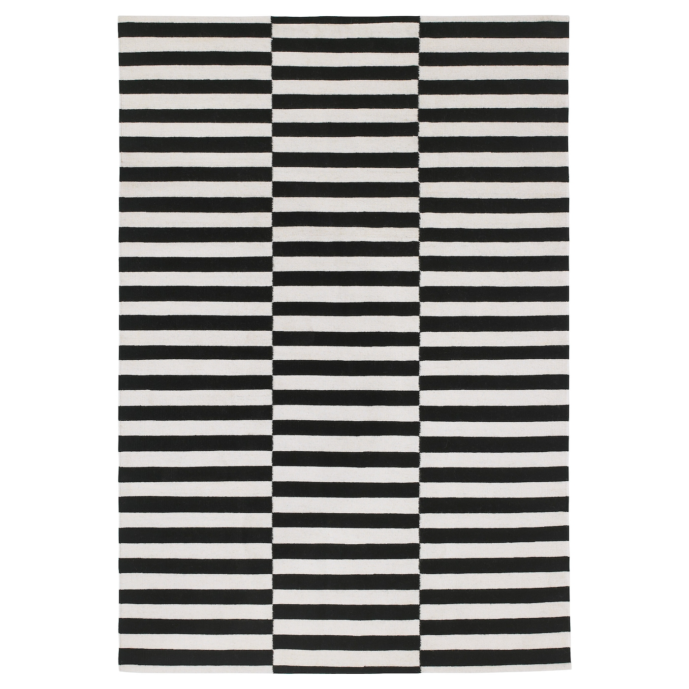 Buy Stockholm Rug Flatwoven Black Handmade Striped Off White