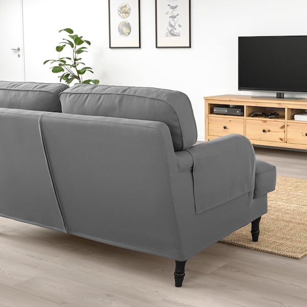STOCKSUND 3-seat sofa, Ljungen medium grey/black/wood