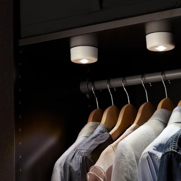 STÖTTA مصباح توجيهي LED وملقط, يعمل بالبطارية أبيض
