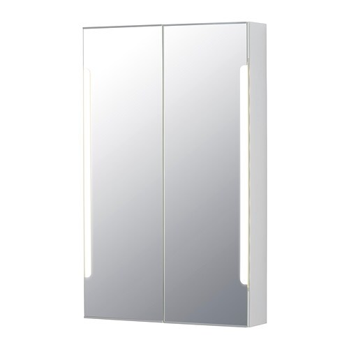STORJORM Mirror cab 2 door/built-in lighting IKEA The LED lightsource consumes up to 85% less energy and lasts 20 times longer than incandescent bulbs.