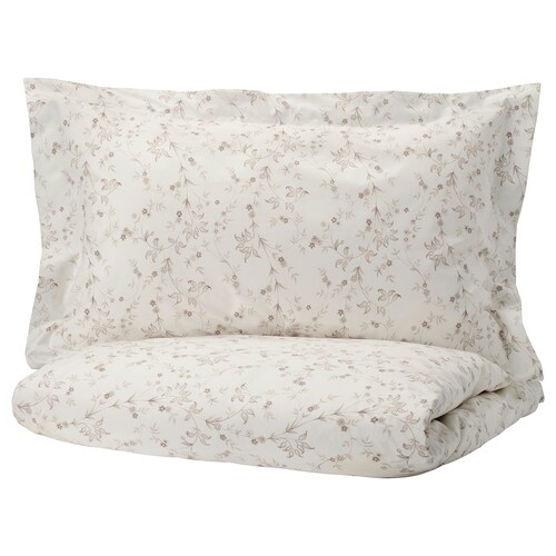 STRANDFRÄNE quilt cover and 2 pillowcases white/light beige 200 /inch² 2 pack 220 cm 240 cm 50 cm 80 cm