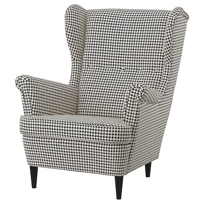 STRANDMON Wing chair, Vibberbo black/beige