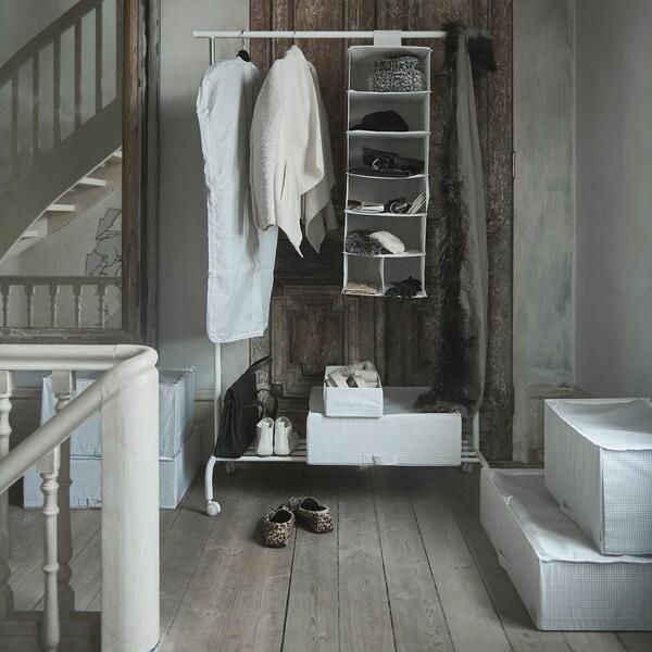 STUK Storage with 7 compartments, white/grey, 30x30x90 cm