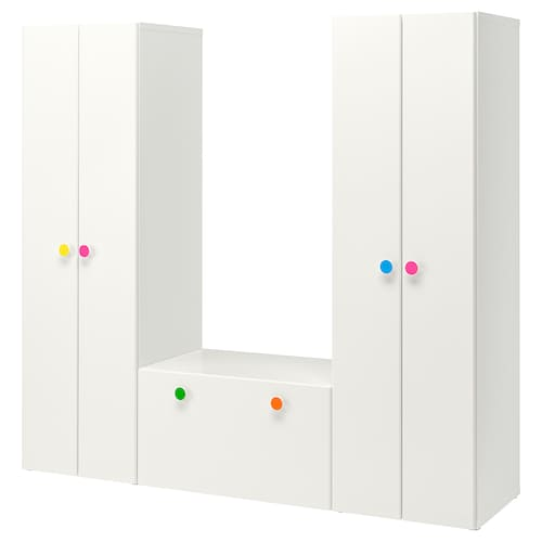 STUVA / FÖLJA storage combination with bench white 210 cm 50 cm 192 cm
