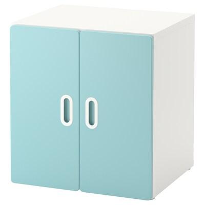 STUVA / FRITIDS خزانة, أبيض/أزرق فاتح, 60x50x64 سم
