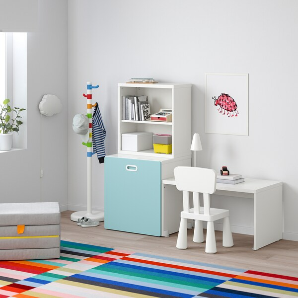 STUVA / FRITIDS Table with toy storage, white/light blue, 150x50x128 cm