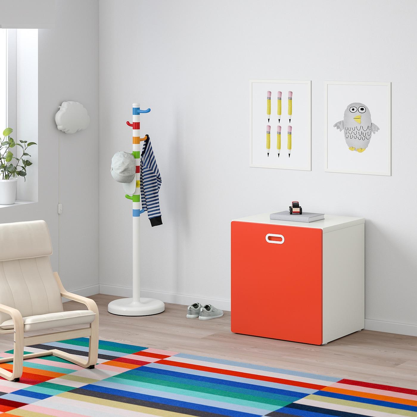 STUVA / FRITIDS صندوق ألعاب على عجلات, أبيض/أحمر, 60x50x64 سم