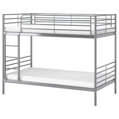 SVÄRTA Bunk bed frame, silver-colour, 90x200 cm