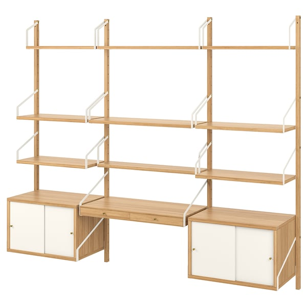 SVALNÄS Wall-mounted workspace combination, bamboo/white, 213x35x176 cm