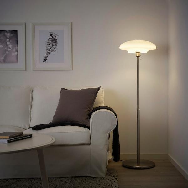 TÄLLBYN Floor lamp, nickel-plated/opal white glass, 135 cm
