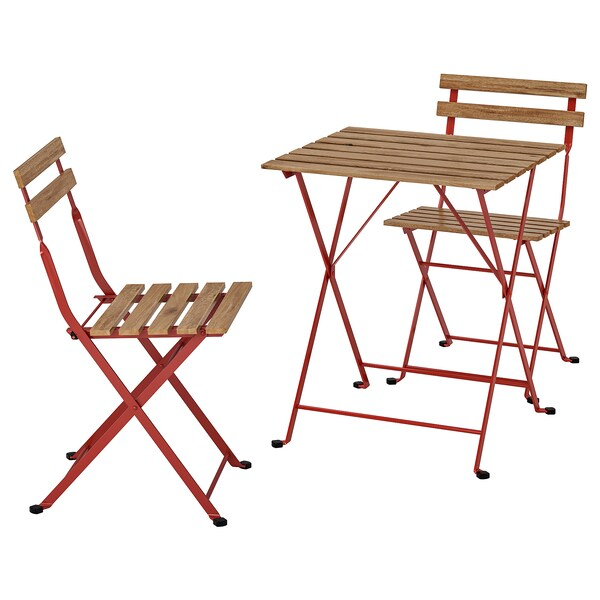 TÄRNÖ طاولة+2كراسي، خارجية, أحمر/صباغ بني فاتح