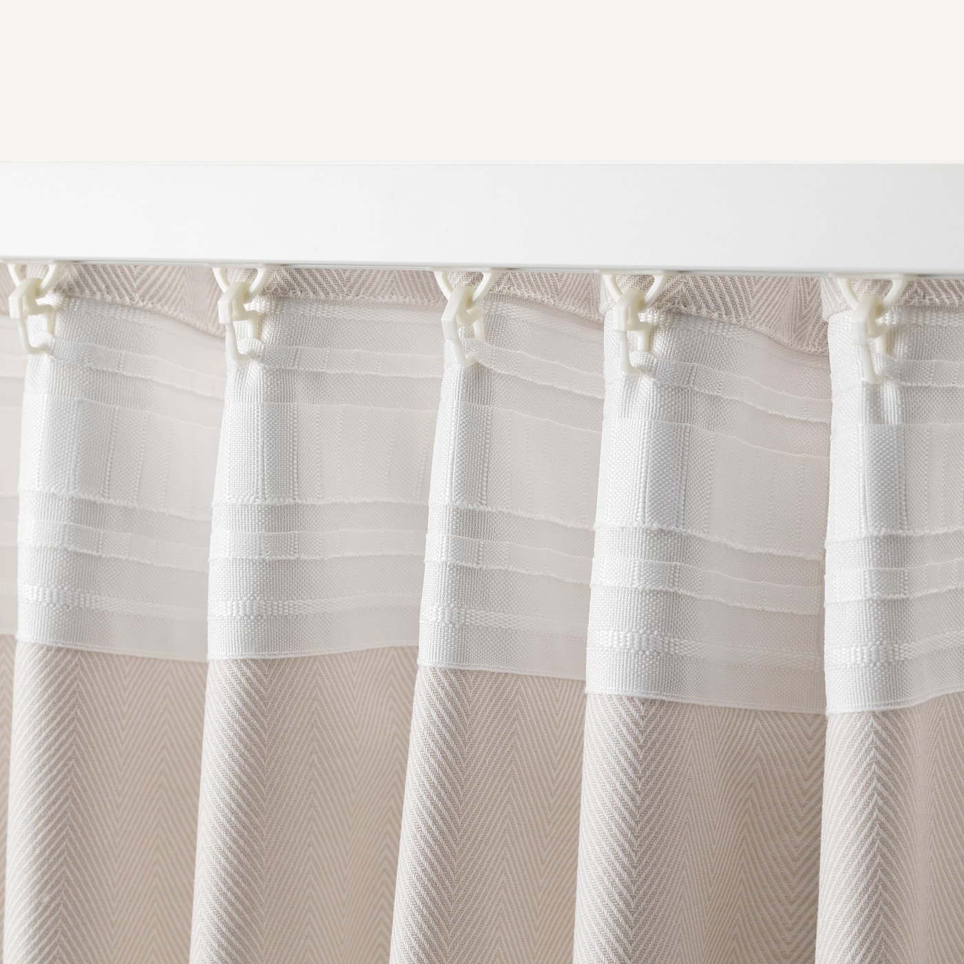TIBAST Curtains, 8 pair - beige 845x8 cm