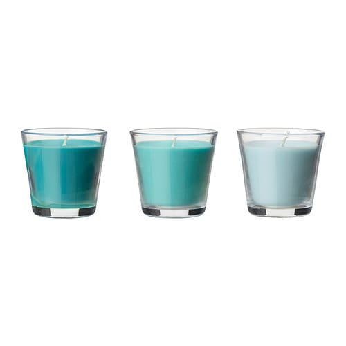 TINDRA LJUV Scented candle in glass IKEA When the candle has burnt itself out the glass cup can be used as a tealight holder.