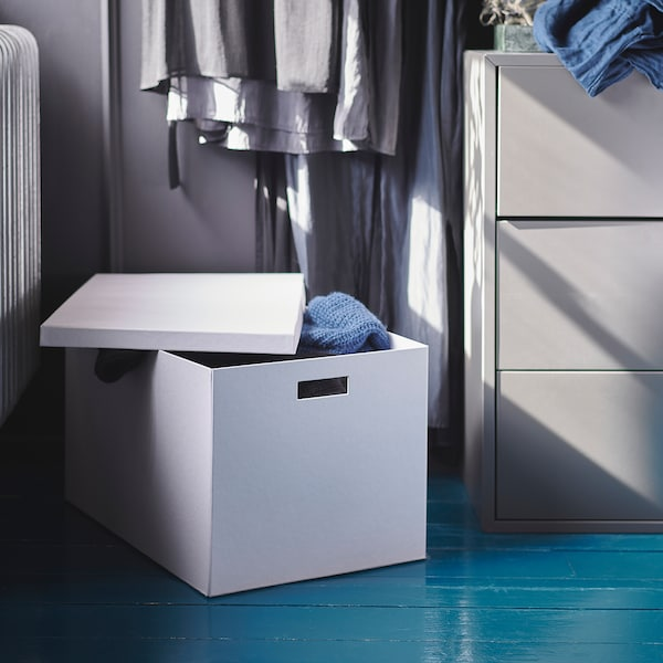 TJENA Storage box with lid, white, 35x50x30 cm
